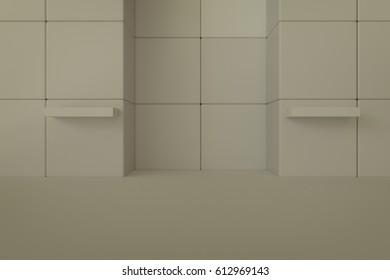 3d rendering of empty shelf in door