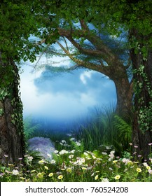3D rendering of a enchanting fairy forest opening with flowers.