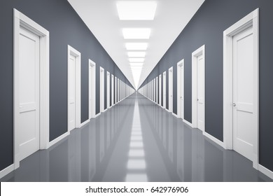 3d rendering of an endless corrior with lots of white doors
