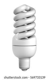 3D rendering Energy saving light bulbs, Mock-up light bulbs on white background