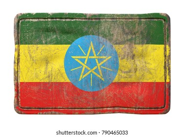 3d rendering of a Ethiopia flag over a rusty metallic plate. Isolated on white background.