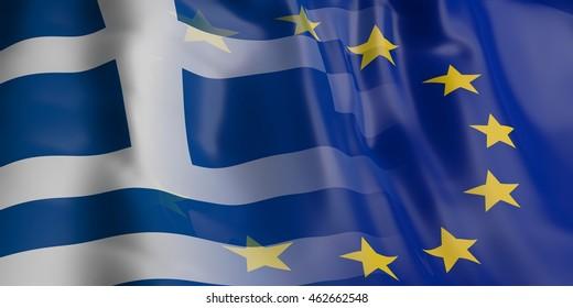 3d rendering EU and Greece flag waving