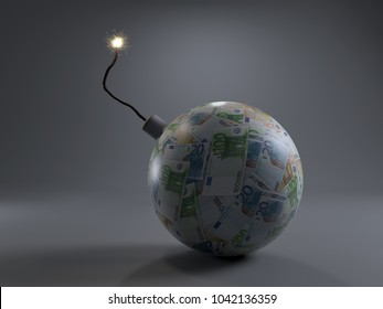 3D rendering of Euro banknote sphere as money bomb with burning fuse - concept of financial collapse