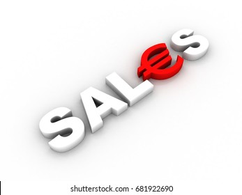 3D rendering euro symbol in sale text
