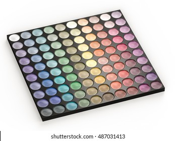 3d rendering eye shadow palettes on white background
