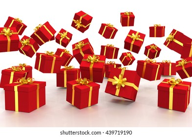 3d rendering of falling christmas gift boxes over white background.
