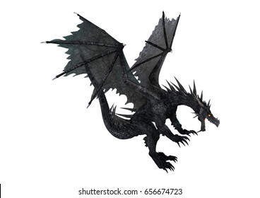 3D rendering of a fantasy black dragon isolated on white background