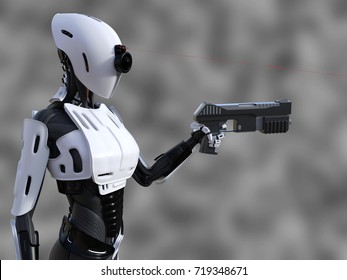 3D rendering of a female android robot with red laser beam sight holding a gun against gray background. She is ready to fire!