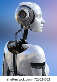 3D rendering of a female android robot posing with her back against the camera.