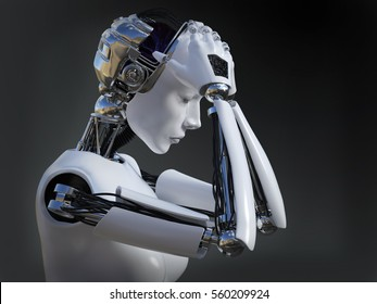 3D rendering of a female robot looking sad and crying, image 2. Dark background.
