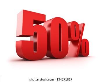 3D Rendering of a fifty percent symbol