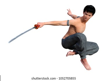 3D rendering of a fighting monk holding a sword isolated on white background
