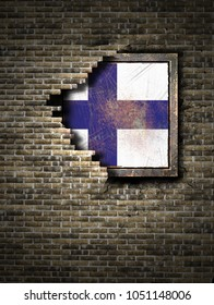 3d rendering of a Finland flag over a rusty metallic plate embedded on an old brick wall