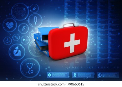 3d rendering First aid kit with office folder