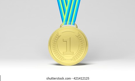 3D rendering first place medal on ribbon.Isolated