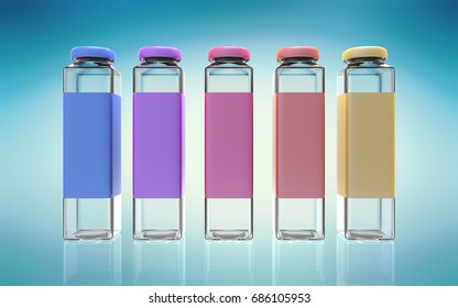 3d rendering of five color bottles