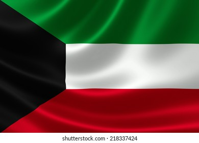 3D rendering of the flag of Kuwait on satin texture.