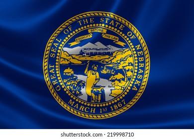 3D rendering of the flag of Nebraska on satin texture.