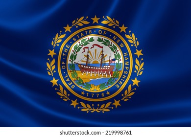 3D rendering of the flag of New Hampshire on satin texture.