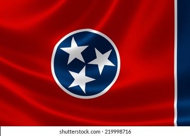 3D rendering of the flag of Tennessee on satin texture.