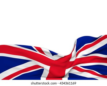 3D rendering Flag of the United Kingdom,waving over a white background