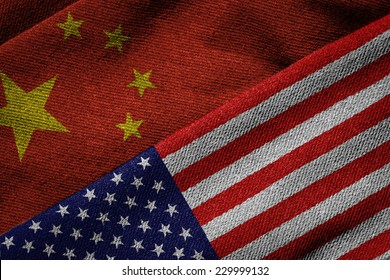 3D rendering of the flags of China and USA on woven fabric texture. Detailed textile pattern and grunge theme.