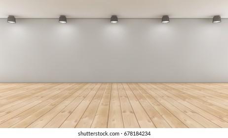 3d rendering. Floor, wall and lights