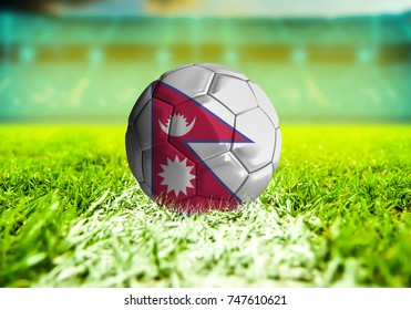3D rendering football ball with the national flag of Nepal ball with Green grass background
