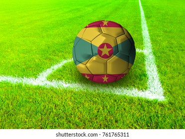 3D rendering football ball with the national flag of Grenada ball with Green grass background
