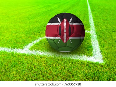 3D rendering football ball with the national flag of Kenya ball with Green grass background