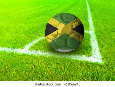 3D rendering football ball with the national flag of Jamaica ball with Green grass background