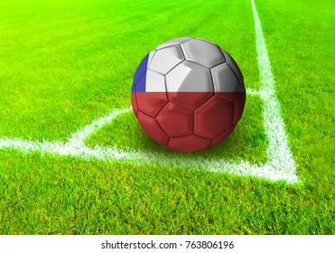 3D rendering football ball with the national flag of Chile ball with Green grass background