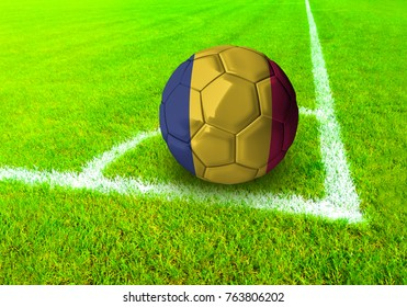 3D rendering football ball with the national flag of Chad ball with Green grass background