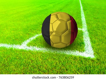 3D rendering football ball with the national flag of Belgium ball with Green grass background