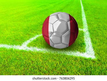 3D rendering football ball with the national flag of Peru ball with Green grass background