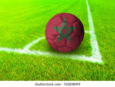 3D rendering football ball with the national flag of Morocco ball with Green grass background