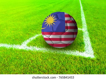 3D rendering football ball with the national flag of Malaysia  ball with Green grass background