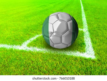 3D rendering football ball with the national flag of Nigeria ball with Green grass background