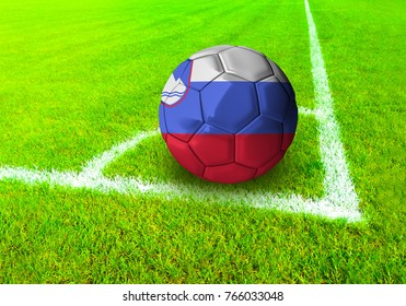 3D rendering football ball with the national flag of Slovenia ball with Green grass background