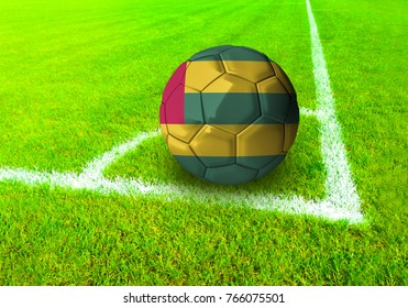 3D rendering football ball with the national flag of Togo ball with Green grass background
