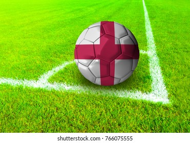 3D rendering football ball with the national flag of England ball with Green grass background