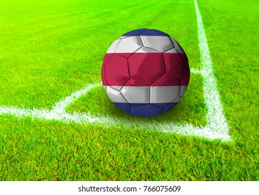 3D rendering football ball with the national flag of Costa Rica ball with Green grass background
