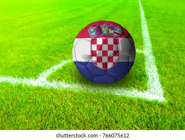 3D rendering football ball with the national flag of Croatia ball with Green grass background