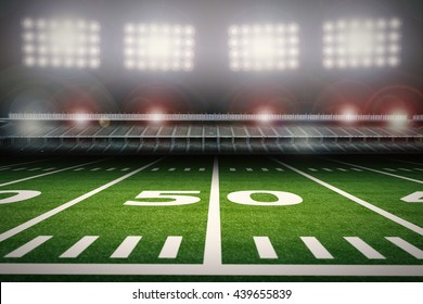3d rendering football field with crowd stadium