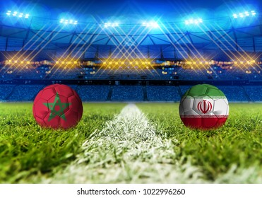 3D rendering Football. group B, Morocco, Iran