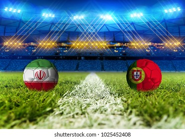3D rendering Football. group B, IR Iran vs Portugal