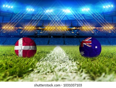 3D rendering Football. group C, Denmark VS Australia