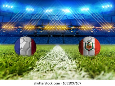 3D rendering Football. group C, France VS Peru