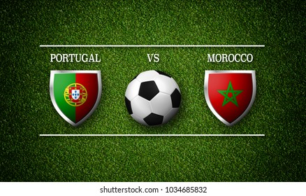 3D Rendering - Football Match schedule, Portugal vs Morocco, flags of countries and soccer ball