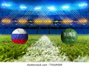 3D rendering Football Russia 2018. group A, Russia VS Saudi Arabia